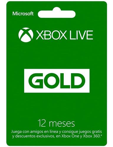 Imagen 1 de 4 de Tarjeta De Regalo Xbox Live Gold Membresia De 12 Meses