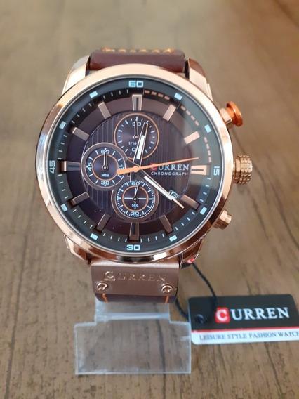 Relógio Curren 8291 Funcional Pulseira Couro Cronógrafo + Cx