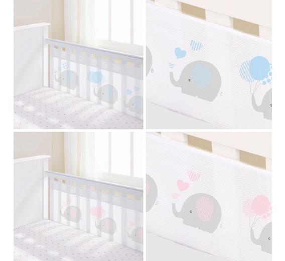 Protetor Berço Tela Respirável Bebê Elefante Grade 2 Lados