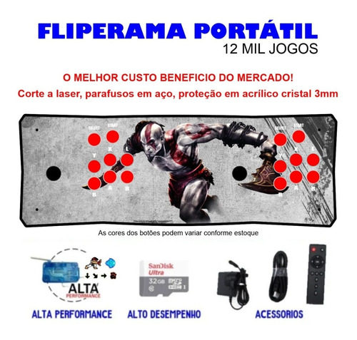 Fliperama Portátil Slim 3 Em 1 - Kratos