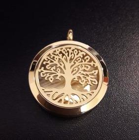 Colar Difusor Árvore Davida Inox Dourado C/ Corrente