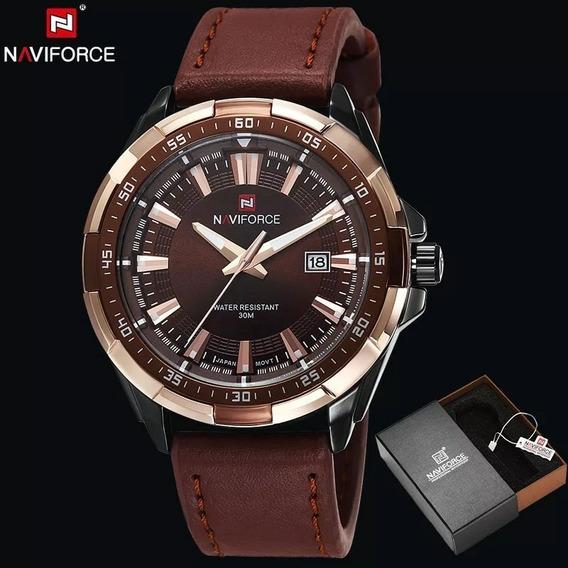 Relógio Naviforce Importado, Com Pulseira De Couro