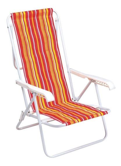 Cadeira De Praia Aço Com 8 Posições Cores Sortidas - Mor