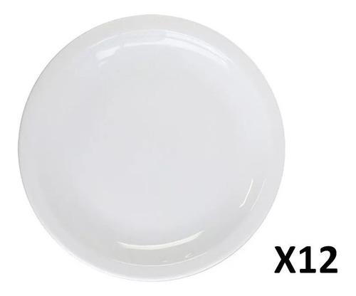 Imagen 1 de 2 de Plato Playo 24 Cm Gastronomico Porcelana Blanco X 12 Unid