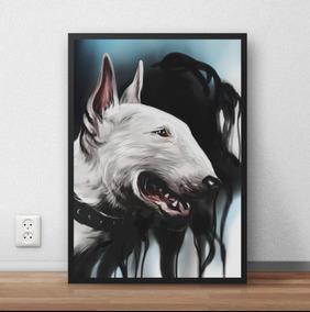 Quadro / Poster Com Moldura Cachorro Cao Bull Terrier P4031