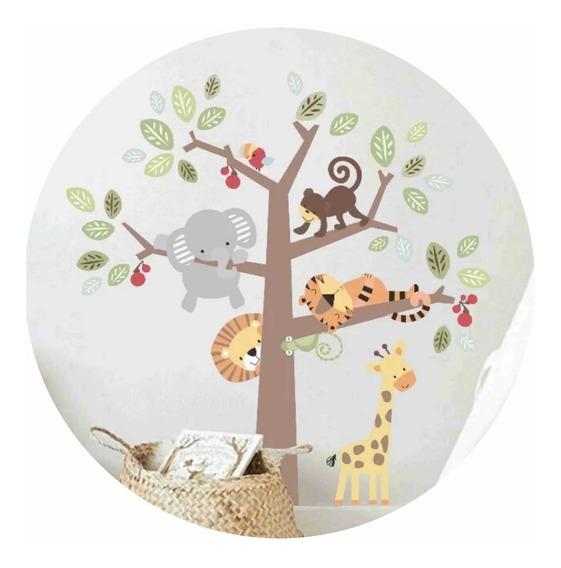 Vinilo Decorativo Infantil Arbol Con Animales Bebe 90x90