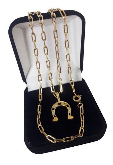 Cordão Cartier 60cm/2mm Ping Ferradura Folheados A Ouro 18k