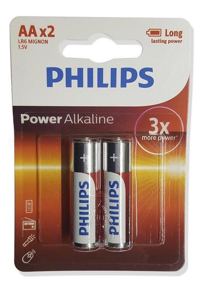 Philips 2aa Pilha Power Alkaline Cartela Com 2 Unidades