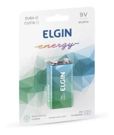 Bateria 9v Elgin Alcalina 6lr61 Alta Qualidade