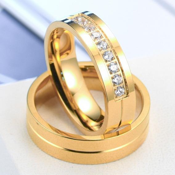 Anel Aliança Noivado Banhada A Ouro
