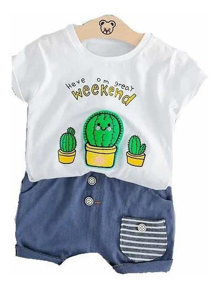 Ropa Casual Bebés Niño Moda Conjunto Short Camisa Cactus