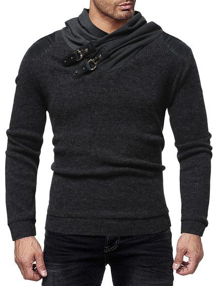Contrastar Color Chal Collar Suéter