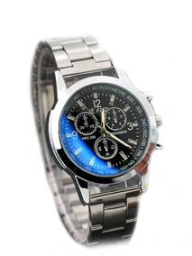 Relógio Elegante Quartz Pulseira Zinco - Preto