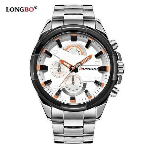 Relógio Longbo Masculino De Pulso Prata/branco Aço Inox