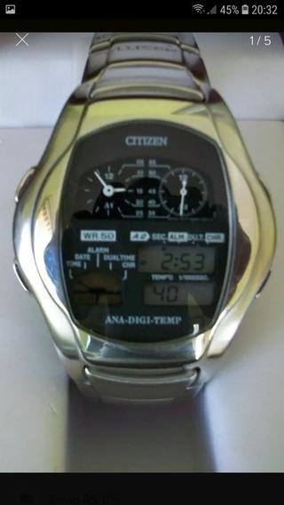 Raro Relógio Citizen Digi Ana Temp - Modelo 8988