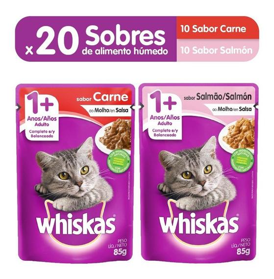 Comida Gatos Whiskas Sobres Carne (10un) + Salmon (10un)