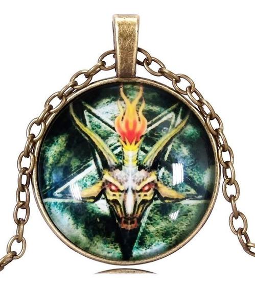 Colar Unissex Cabochão Satânico Pentagrama Baphomet