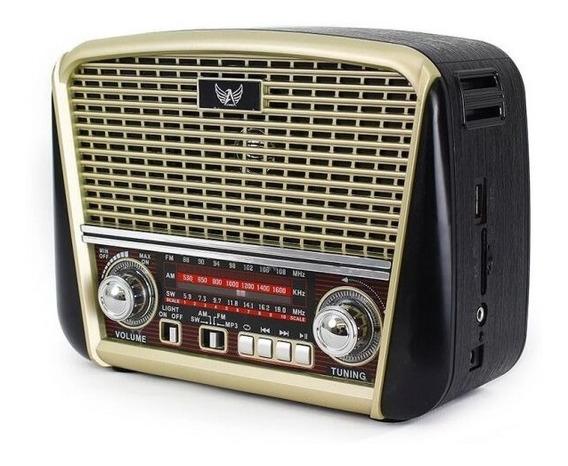 Radio Retro Portatil Caixa De Som Em Madeira Lelong Le640