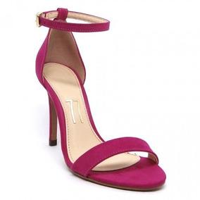 55514ffef7 Sandália Rosa Choque Pink Camurça Tira Salto Alto Fino 10 Cm