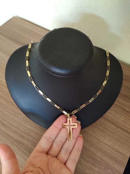 Cordão Cartie+pingente Cruz Em Ouro 18kl 12 Gramas