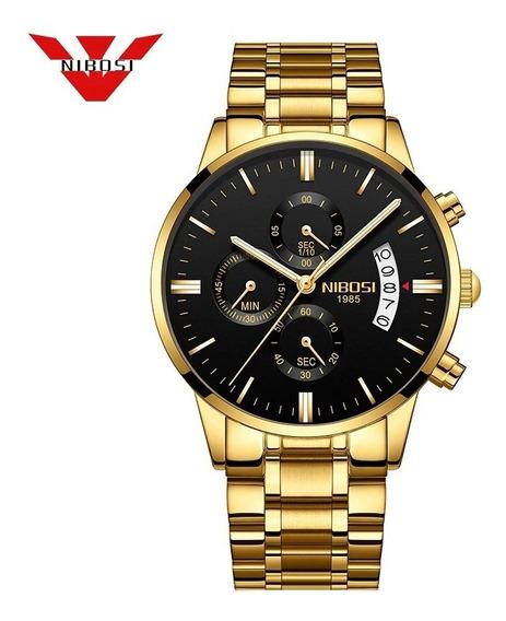 Relógio Nibosi Masculino 100% Funcional E A Prova De Agua