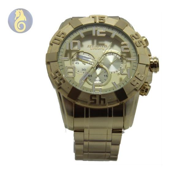 Relógio Dourado Masculino Original Atlantis A3361 Quartz Aço