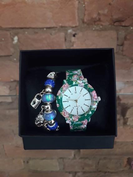 Relógio Feminino Florido Quartz! Lindo! Vem Com Pulseira!