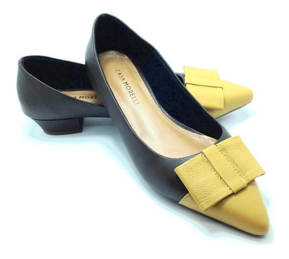 Sapato Feminino Morelli Saltinho Couro Bico Fino Marrom 6056