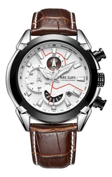 Nuevo Reloj Original Megir Deportivo Cuarzo Correa Piel