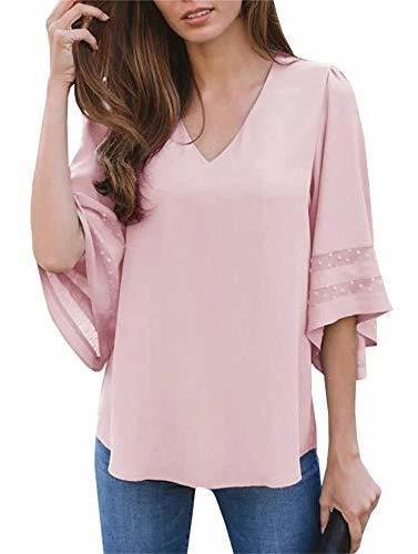 Ofenbuy Blusa De Malla Para Mujer Cuello En V Casual 34 Mang