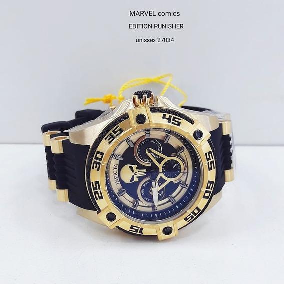 Relógio Invicta 27034 Dourado 18k Aço Inox - Marvel Punisher