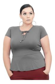 Roupa Feminina Blusa Plus Size Peplum Cordão Na Gola