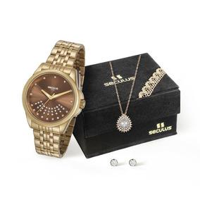 Kit Relógio Femenino Seculus Com Colar E Brincos Aço Dourado