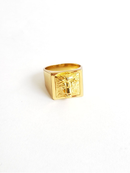 Anel Leão Banhado A Ouro 18k