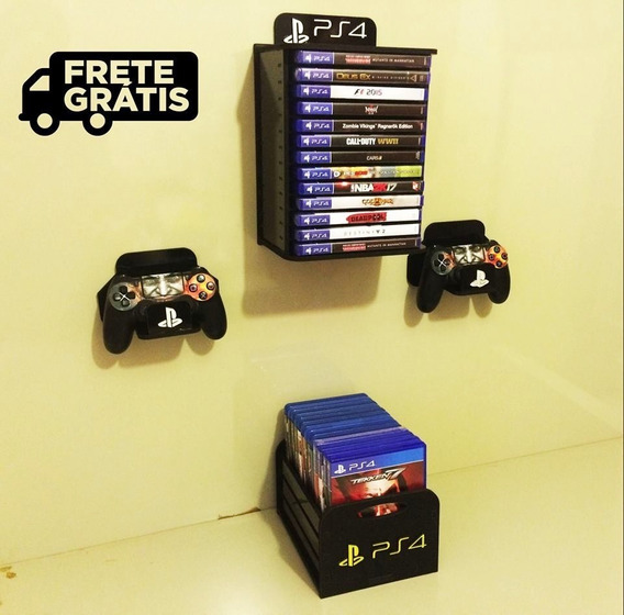 Kit 01 Porta Jogos Parede + 01 Pj Mesa + 02 Porta Controles