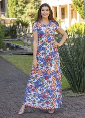 Vestido Lindo Longo Estampas Moda Evangélica Frete Grátis