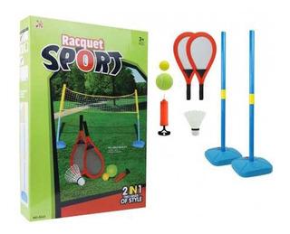 Set Para Juego 2 En 1 Badminton Y Tenis Nflador Paletas