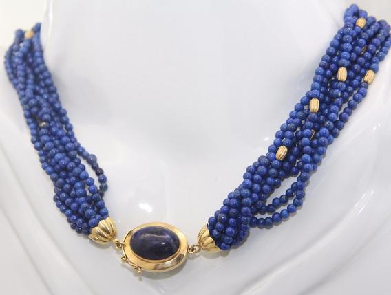 Lindo Colar De Lapis Lazuli E Ouro Com 44cm