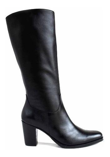 Bota Mujer Cuero Caña Alta Briganti Zapato Taco Mcbo24921