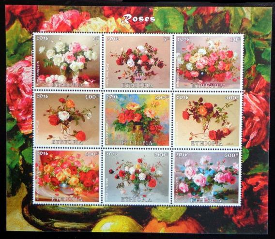 Etiopía Flores, Bloque 9 Sellos Rosas 2016 Mint L9858