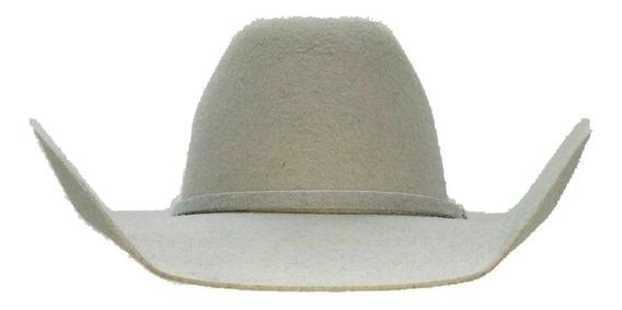 Sombrero Texana Tejana De Lana Gris Claro Toquilla De Regalo