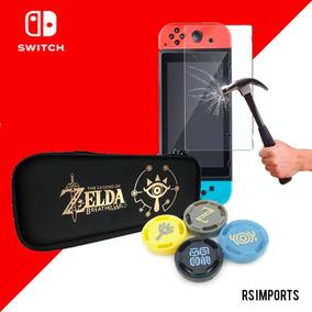 Case Nintendo Switch Zelda + Pelicula Vidro + 4 Grip Zelda
