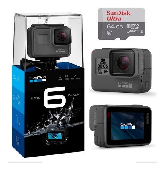 Câmera Gopro Hero 6 Black Ultra Hd Go Pro + 64gb