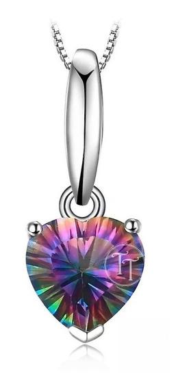 Collar Topacio Arcoiris 1.5 Ct Plata Esterlina 925 Heart 18