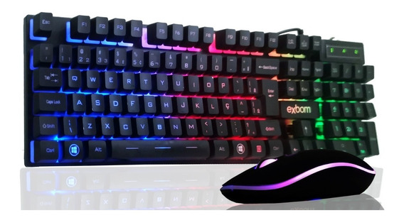 Kit Teclado Semi Mecânico Gamer Mouse Chroma Led Pc Abnt2