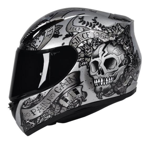 Capacete Mt Revenge Skull & Rose Prata M-58