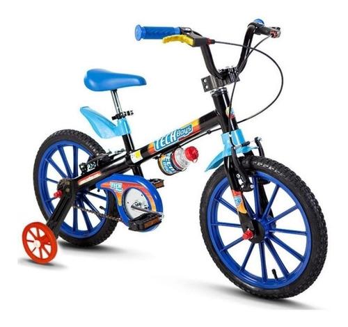 Imagem 1 de 2 de Bicicleta  infantil Nathor Aro 16 Tech Boys aro 16 freios v-brakes cor preto/azul/azul-celeste com rodas de treinamento