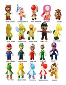 Kit 5 Bonecos Em Pvc Mario Luigi Toad Bowser Yoshi Bros 11cm
