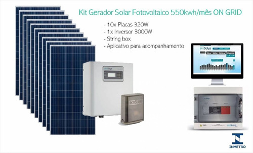 Kit Gerador Solar Fotovoltaico 550kwh/mês On Grid