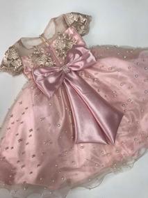 Vestido De Festa Infantil Renda Dourada Princesa Tam 1